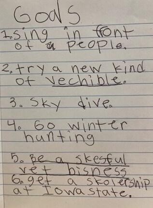 goal written by a child